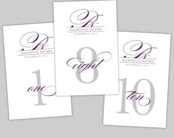 Pretty Script Printable Wedding Table Number Signs - DIY Classic, Elegant, Purple, Gray, Silver