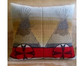 RESERVED Pillow Cover - Pendleton Wool Fabric - Native Geometric Tribal Tepee