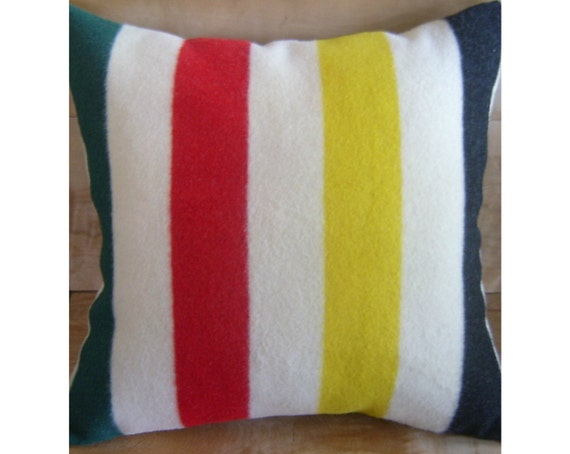 Wool Pillow - Pendleton Wool Fabric - Camp Blanket Cabin Chic Glacier National Park Hudson Bay
