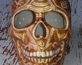 Ceramic Skull -- White Glazed Skull with intricate Gold Embossed Design