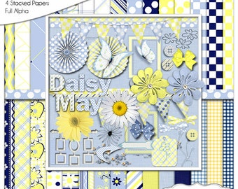 2 DOLLAR SALE! Daisy May Digital Scrapbook Bundle in Navy Blue and Yellow Gingham and Daisy Clip Art, Instant Download