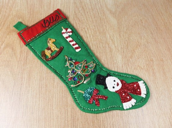 Vintage Felt Christmas Stocking Handmade Folk Art Style