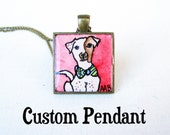 Custom PENDANT Pet Portrait Hand Painted Necklace - Personalized Pendant