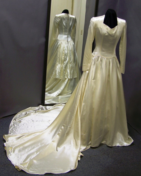 Items Similar To 1940's Vintage Satin Wedding Gown On Etsy