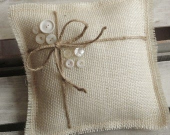 "8"" x 8"" Off White Burlap Ring Bearer Pillow With Jute Twine & Vintage White Buttons - Rustic/Country/Shabby Chic/Folk/Wedding-Vintage"