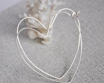 Large Heart Hoop Earrings. Sterling Silver Fancy Hoops - Love Elegant Earrings - Handmade Jewelry by Nadin - Hearts Elegant earrings