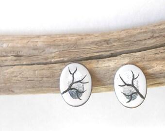 Vintage earrings, handpainted enamel on copper, shining moon & tree branch enamel jewelry