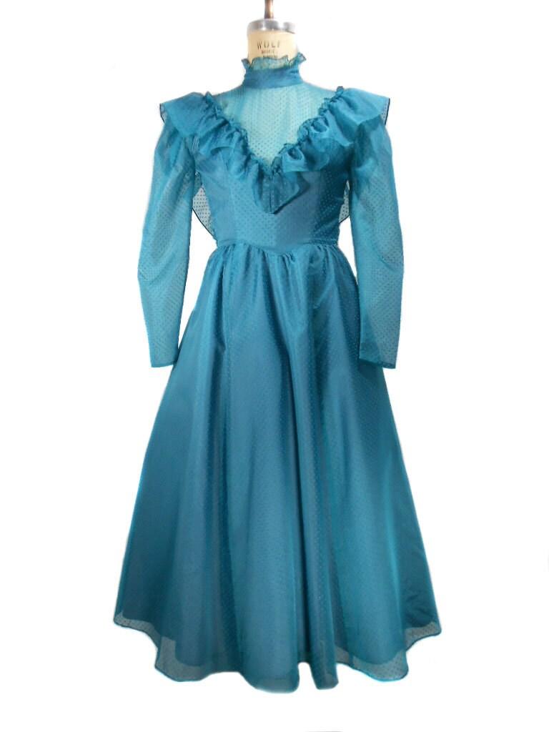 1980s gunne sax prom dress teal polka dot jessica for Ugly wedding dresses for sale