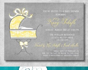BABY Shower Invitation - Printable - DIY - Customizable - yellow and gray