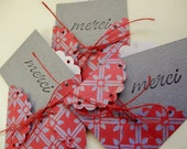 """LAST SET - 3 Handmade Mini  """"MERCI"""" Cards with Envelopes - Red and Grey"""