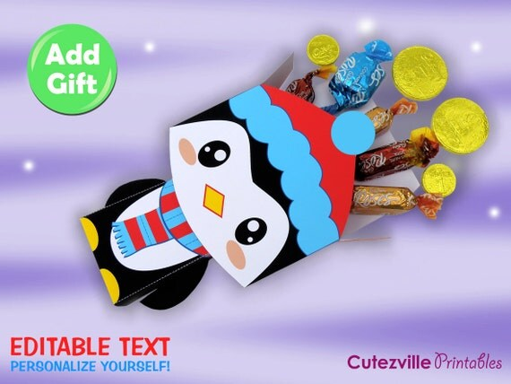 Printable PDF Penguin Gift Box With Editable Text - INSTANT DOWNLOAD
