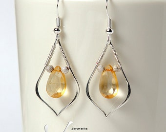 Wire wrapped citrine sterling silver earrings with genuine citrine faceted briolettes, wire wrap dainty drop ear rings