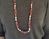 D3 Red Paper Bead Necklace w/Natural Seeds and Wooden Beads