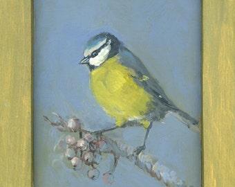 Blue Tit, Bird Painting, Acrylic original painting, Chickadee family blue, grey, yellow, mustard art, acrylic on wooden board painting