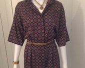Vintage 1960s Print Shirt Dress Upcycled into a Mini