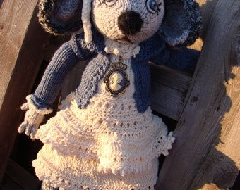 Pattern for  Little Mouse in the City Raggedy Lottie ragdoll doll knitted doll