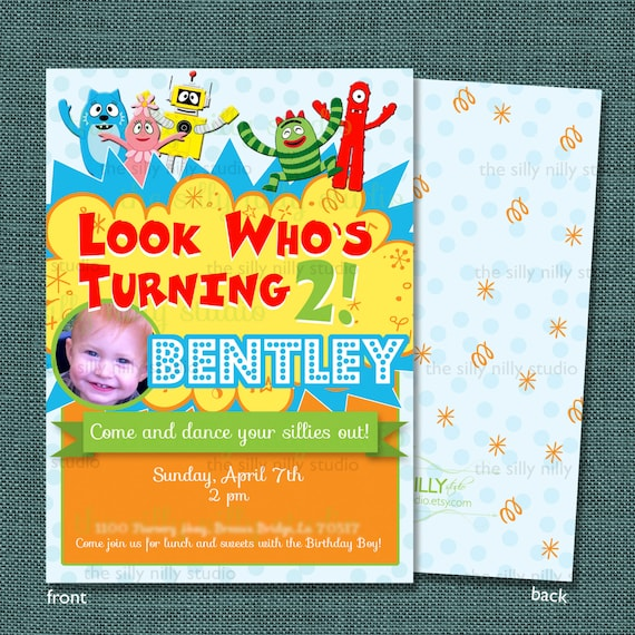 ... 5x7 Yo Gabba Gabba Birthday invitations front and back template
