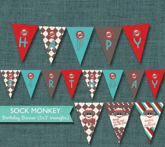 Items Similar To PRINTABLE BANNER 5x7 Triangle Sock Monkey