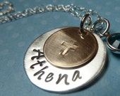 Hand Stamped Gold and Sterling Silver Cross Necklace with Crystal Birthstone
