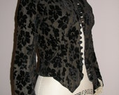 1890s Black Cut Velvet Bodice