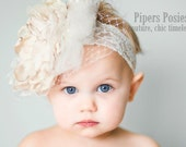 Piper-Couture Cream, Champagne and White Large Flower Headband With Veiling