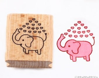 50% OFF SALE elephant with heart Rubber Stamp