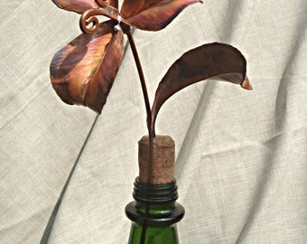 Medium Fold Formed Copper Flower with Three Petals