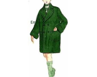 Plus Size (or any size) Vintage 1949 Coat Sewing Pattern - PDF - Pattern No 107 Ellis
