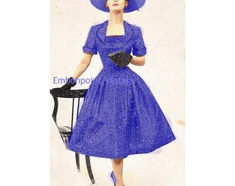 Plus Size (or any size) Vintage 1949 Dress - PDF - Pattern No 75 Rosemarie