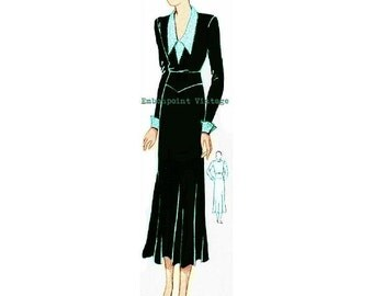 Plus Size (or any size) 1934 Vintage Dress Sewing Pattern - PDF - Pattern No 64 Josefina
