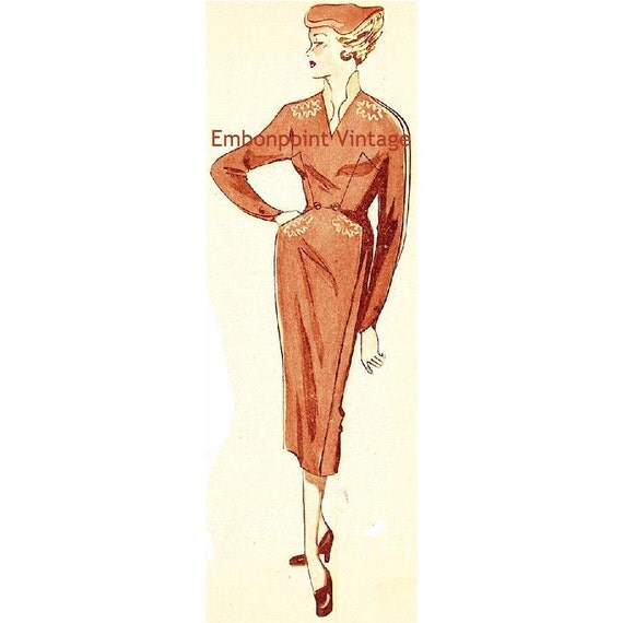 Plus Size (or any size) Vintage 1949 Dress Sewing Pattern - PDF - Pattern No 35 Claudette