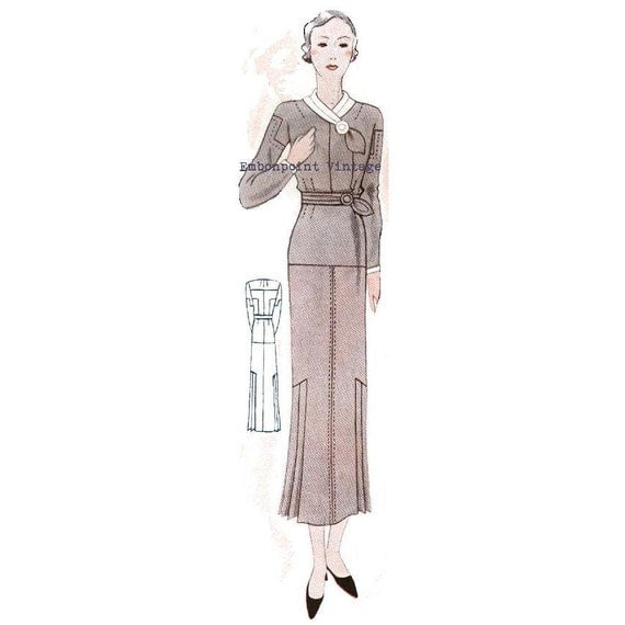 Plus Size (or any size) Vintage 1934 Dress Sewing Pattern - PDF - Pattern No 1531 Edith