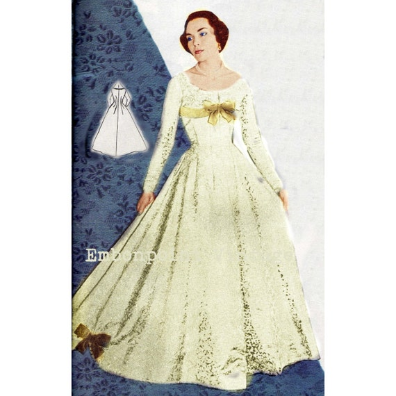 Vintage sewing pattern 1956 wedding dress pdf plus size or for Wedding dress patterns plus size