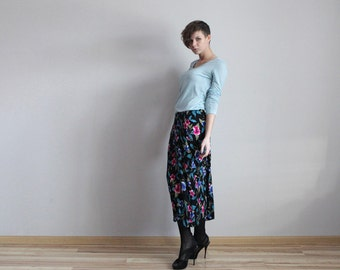 Black colorful floral ankle maxi skirt Small