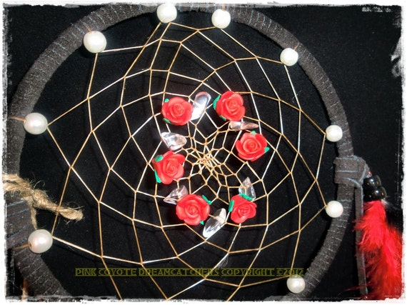 Red Rose Crystal Pearl Black 6 inch Dreamcatcher