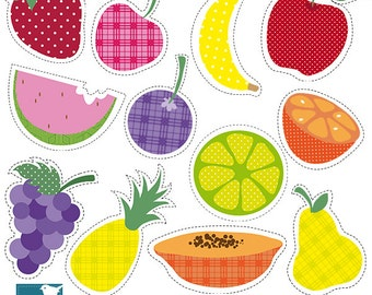 SALE Yummy Fruits Digital Clipart , Clipart, Bright Colors Fruits - Scrapbooking Graphics INSTANT DOWNLOAD