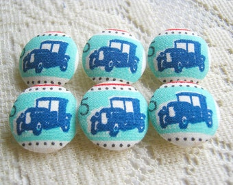 Fabric Buttons, Fabric covered button, Antique Car, Blue Navy car, Vintage car Set 6pcs,18mm, woman, summer, spring, cute ,quilt,handmade