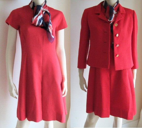 Vintage des ann es 60 robe costume ben reig rouge robe veste for Magasins de robe de mariage portland oregon