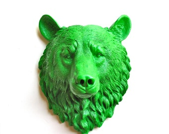 Faux Taxidermy Large Bear Head Wall Hanging/Wall Mount in bright green