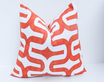 Orange Pillow.20 x 20 Throw Pillow Covers.Decorative Throw Pillows.Decorator Pillow cover. Ikat Pillow  Printed fabric on both sides