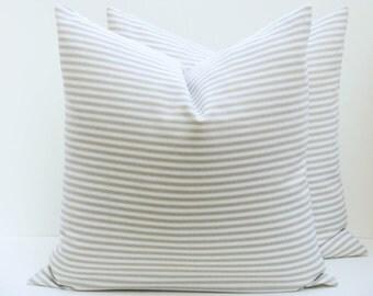 Decorative Pillow - Throw Pillow covers - Throw pillows - Tan pillow - Decorative Pillows - Toss Pillows - Accent Pillow  - Ticking