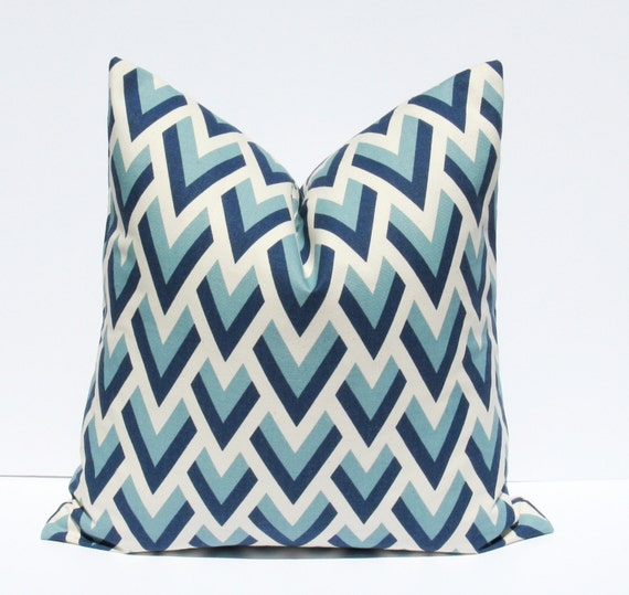 Items similar to Decorative Throw Pillows. Lumbar Pillow ONE LUMBAR Blue Chevron Pillow Cover ...