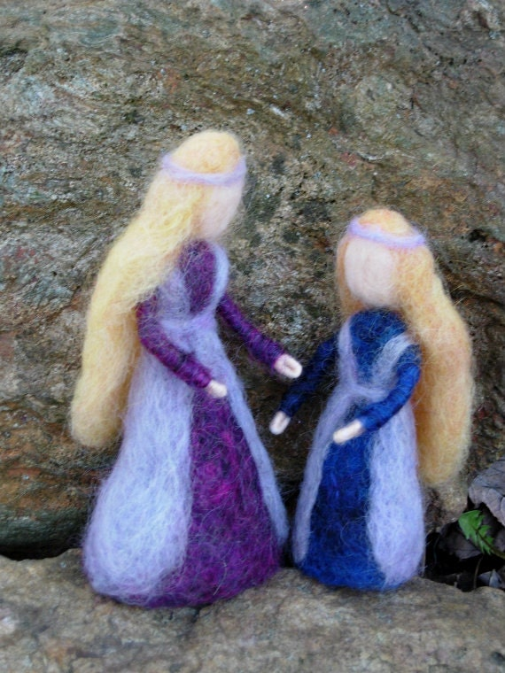 Princess Sister Dolls- Needle Felted Dolls- Waldorf Inspired- Soft Sculpture Art Dolls - For Play or Decoration