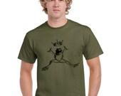 Frog Tshirt. Frog Prince Shirt. Frog Shirt. Screen Printed. Green. Men shirt. Limited edition