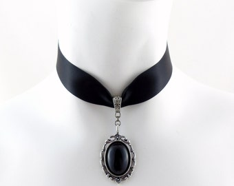 Black Satin Choker with Stone Cabochon Pendant in Ornate Pewter Setting - Victorian, Lolita, Gothic, Goth, Chocker, Necklace, Jewelry