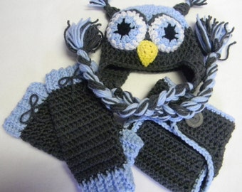 Crochet Owl Hat - Hat/Diaper Cover Set - Hat/Diaper Cover/ Leg Warmers Set - Made To Order