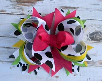 Black White Polka Dot Boutique Hair Bow Girls Hair Bow Stacked hair Bows Big hair bows for girls infants toddlers Headband