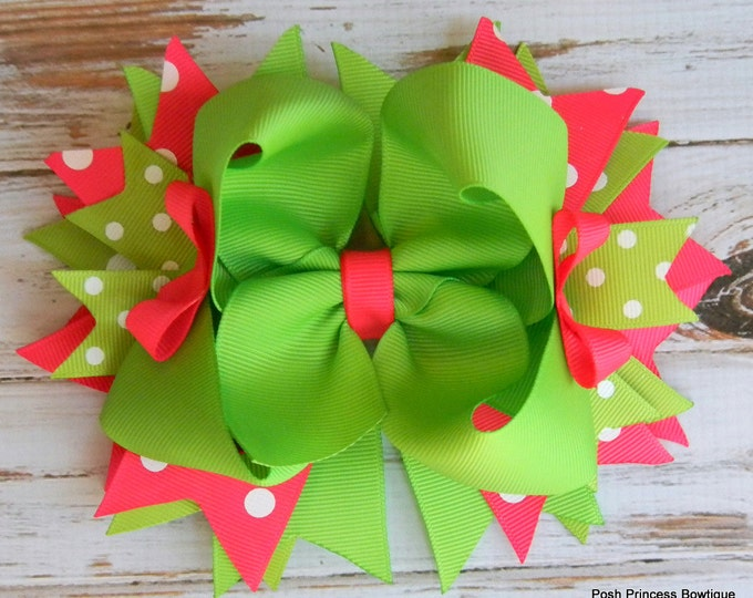 Boutique Hair Bow, Hot Pink and Lime Green Boutique Hair Bow, Hair bows for girls, Girls Hair Bows
