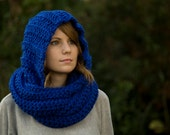Scoodie, Hooded Scarf, Royal Blue Crochet Scarf, Women's Accessories, Extra Long Scarf
