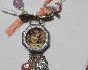 Pink and Purple Resin Watchcase Necklace REDUCED